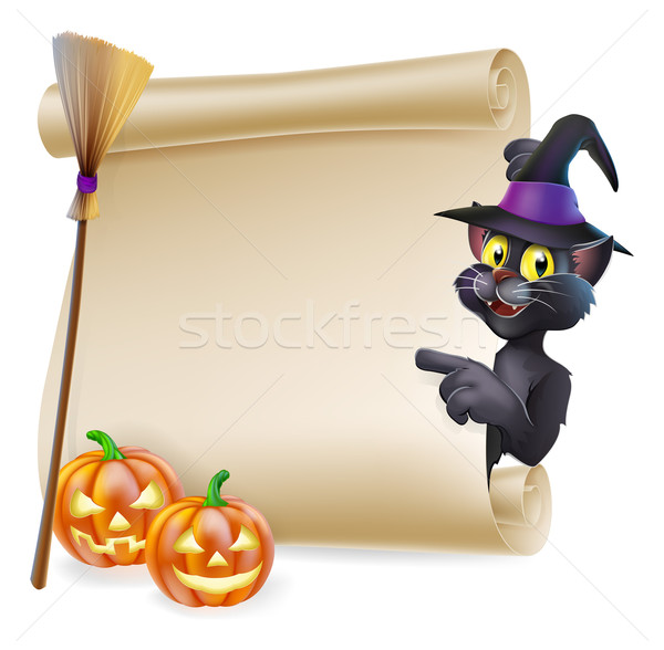 Halloween black cat Scroll Stock photo © Krisdog