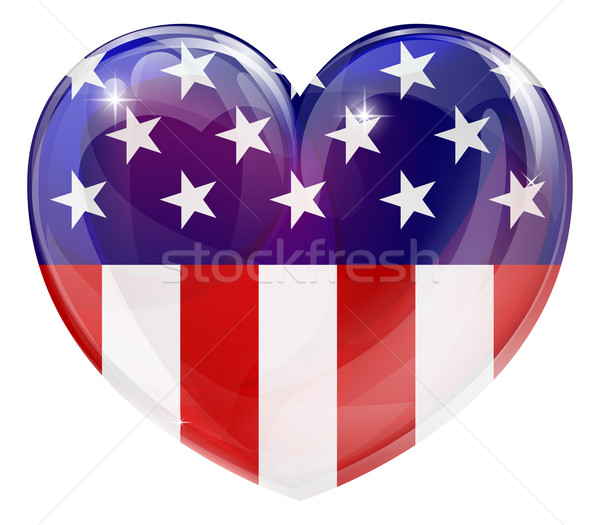 American flag love heart Stock photo © Krisdog