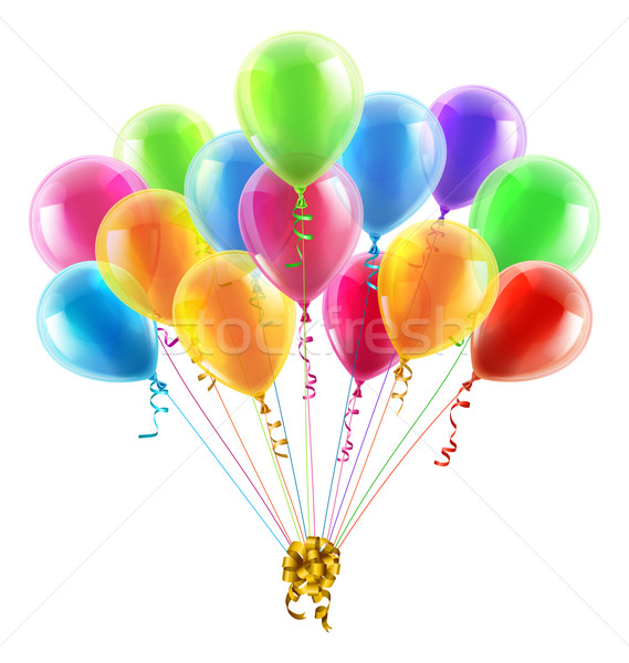 Birthday or party balloons and bow Stock photo © Krisdog