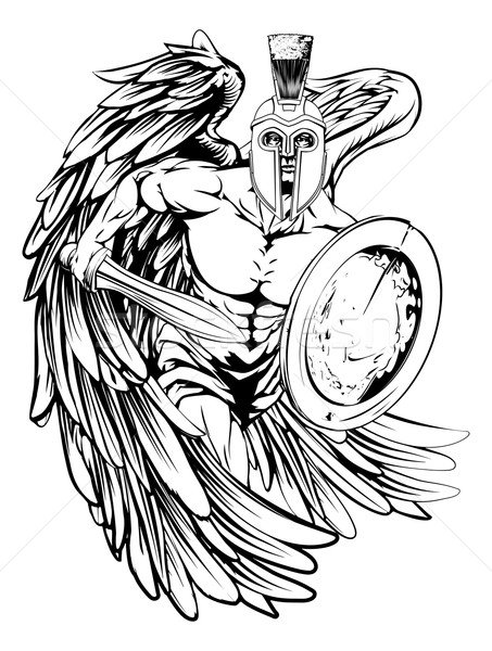 Angelo mascotte illustrazione guerriero carattere sport Foto d'archivio © Krisdog