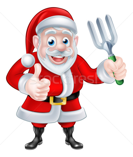 Santa Thumbs Up and Holding Fork Stock photo © Krisdog