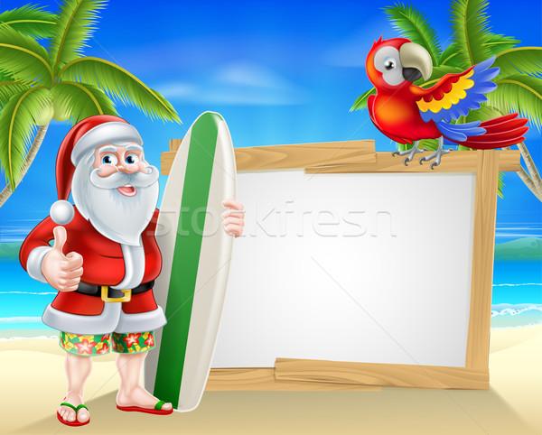Santa tropical beach sign Stock photo © Krisdog