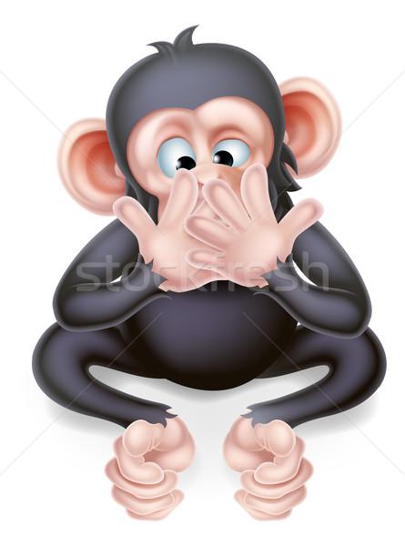 Speak No Evil Cartoon Monkey Stock photo © Krisdog
