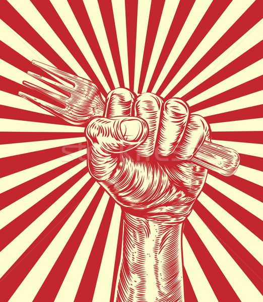 Propaganda Fork Woodcut Fist Hand Stock photo © Krisdog