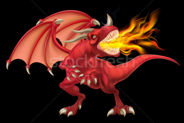 Red Dragon Breathing Fire Stock photo © Krisdog