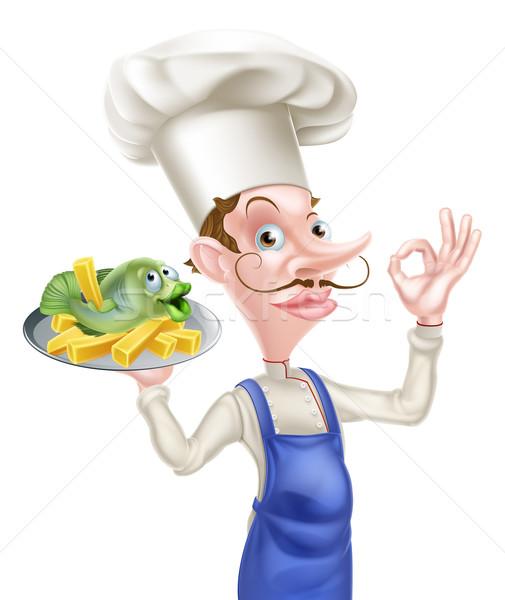 Chef poissons puces parfait signe Photo stock © Krisdog