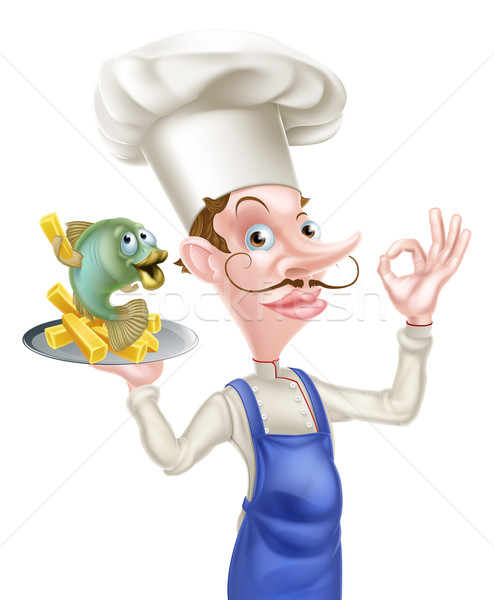 Cartoon chef poissons puces illustration alimentaire Photo stock © Krisdog