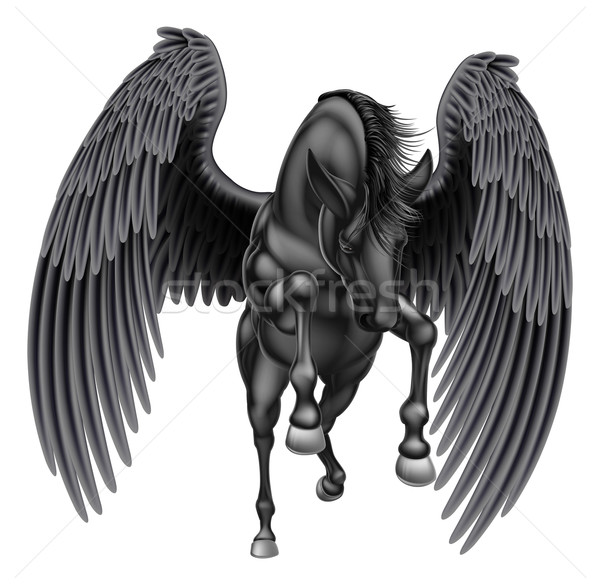 Black Pegasus Winged Horse Stock photo © Krisdog