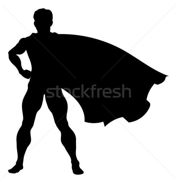 Silhouette Superhero  Stock photo © Krisdog