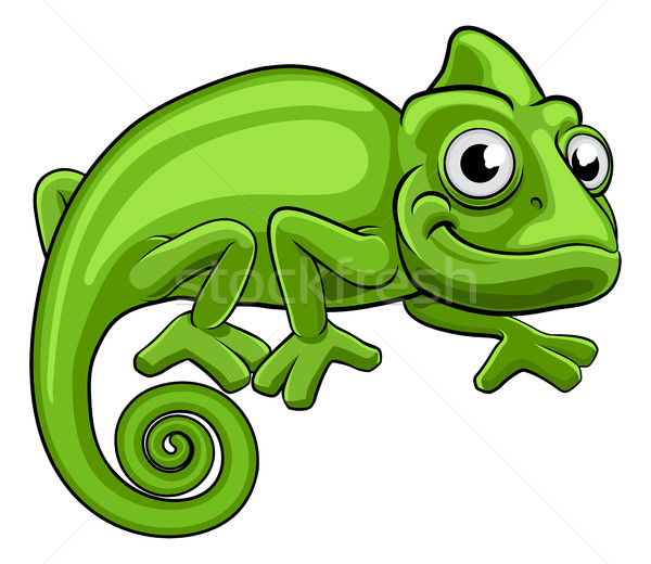 Cartoon kameleon groene hagedis karakter kinderen Stockfoto © Krisdog