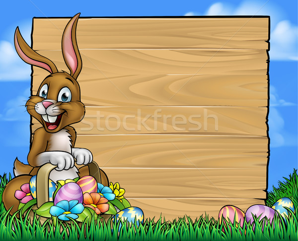 Cartoon Easter Bunny Eggs Background Sign Stock photo © Krisdog
