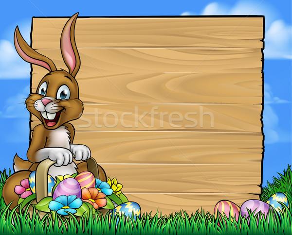 Karikatur Osterhase Eier Zeichen Ostern halten Stock foto © Krisdog