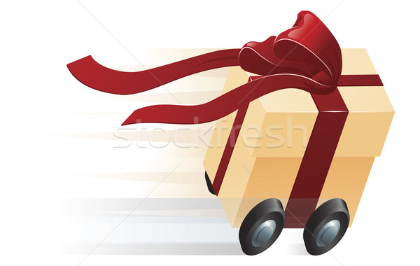 Fast Present Gift on Wheels Concept Stock photo © Krisdog