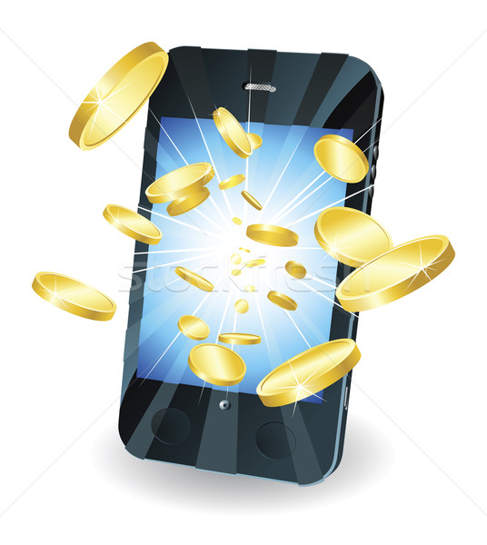 Gold coins flying out of smart mobile phone Stock photo © Krisdog