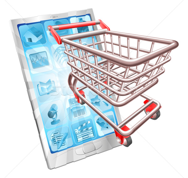 Stock photo: Shopping phone app concept