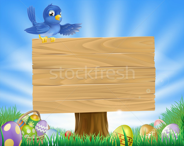 Bluebird Easter cartoon background Stock photo © Krisdog