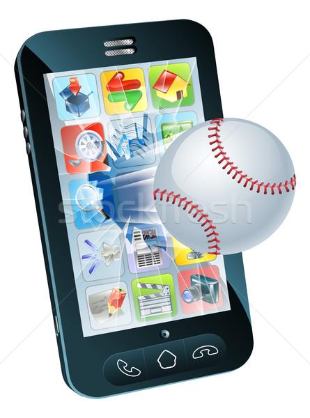 Baseball ball flying out of mobile phone Stock photo © Krisdog