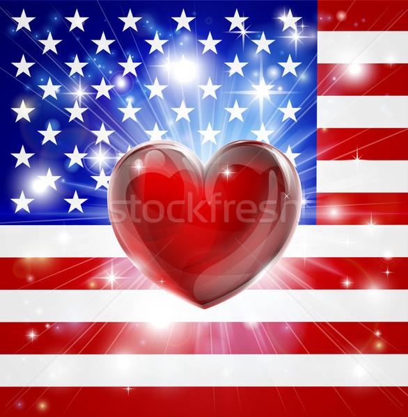 Liebe america Flagge Herz patriotischen Licht Stock foto © Krisdog