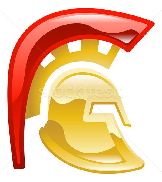 Trojaans spartaans helm kunst goud soldaat Stockfoto © Krisdog