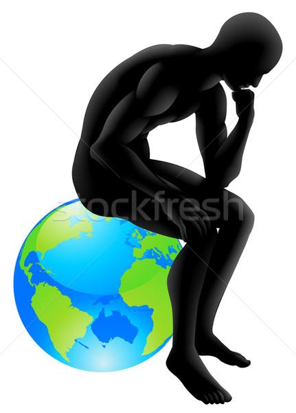 Wereldbol denker stijl persoon vergadering denken Stockfoto © Krisdog