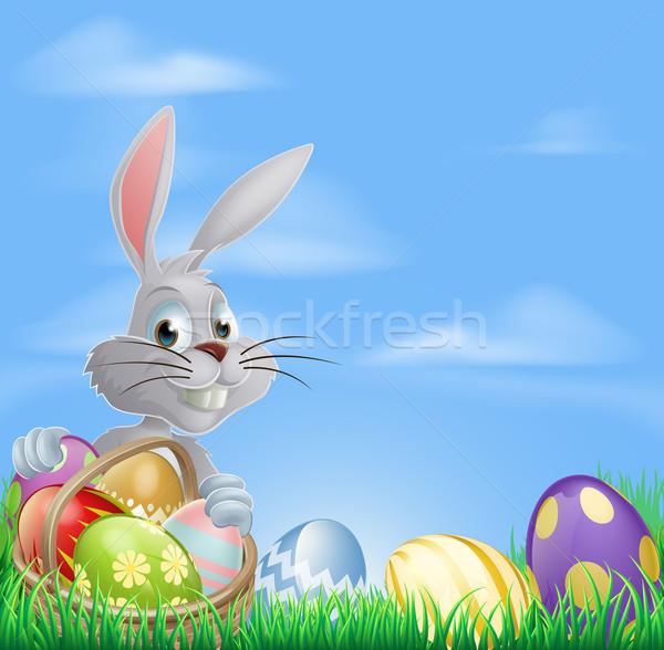 Easter eggs bunny in field Stock photo © Krisdog