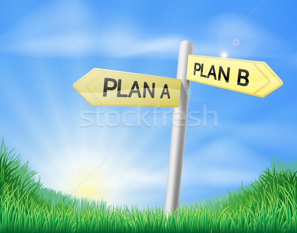 Plan plan b imzalamak alan güneşli yeşil Stok fotoğraf © Krisdog