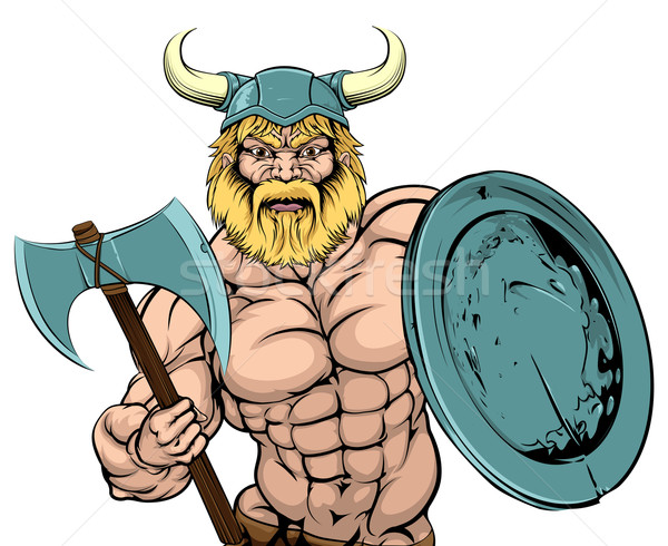Viking Warrior mascot Stock photo © Krisdog