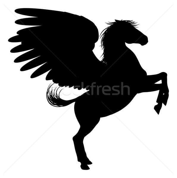 Silhouette Pegasus on Two Legs Stock photo © Krisdog