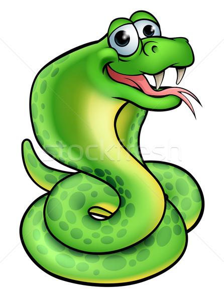 漫画 ヘビ コブラ かわいい 文字 幸せ ストックフォト © Krisdog