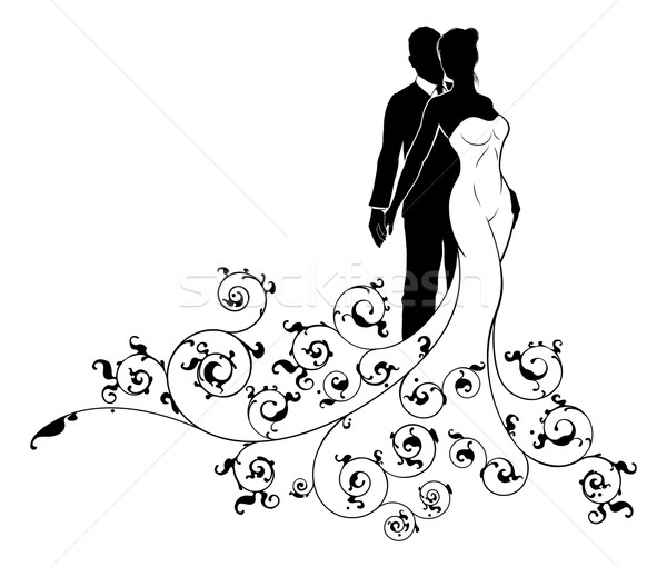 Abstract Wedding Pattern Bride and Groom Silhouette Stock photo © Krisdog