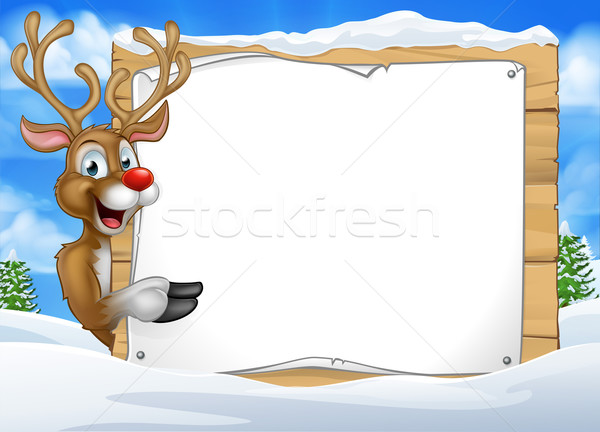 Cartoon Reindeer Christmas Sign Background Stock photo © Krisdog