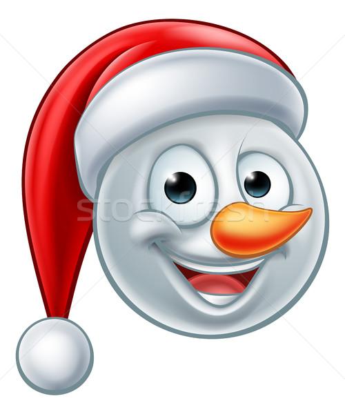 Christmas Snowman Santa Hat Emoji Stock photo © Krisdog