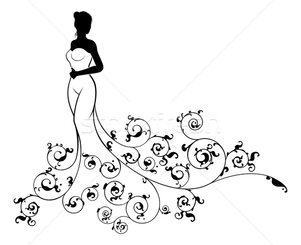 Wedding Dress Bride Silhouette Stock photo © Krisdog
