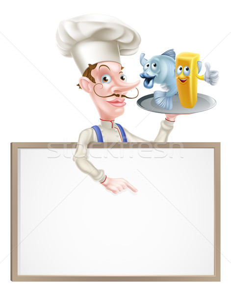 Cartoon chef poissons puces signe Photo stock © Krisdog