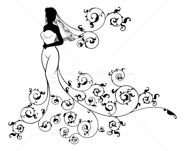 Abstract Wedding Bride Silhouette Stock photo © Krisdog