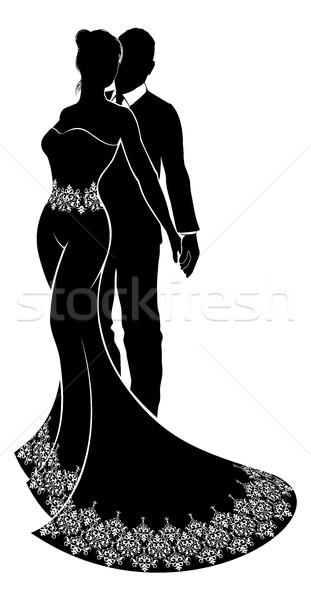 Silhouette Bride and Groom Wedding Illustration Stock photo © Krisdog