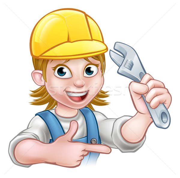водопроводчика механиком женщину гаечный ключ мастер на все руки Сток-фото © Krisdog