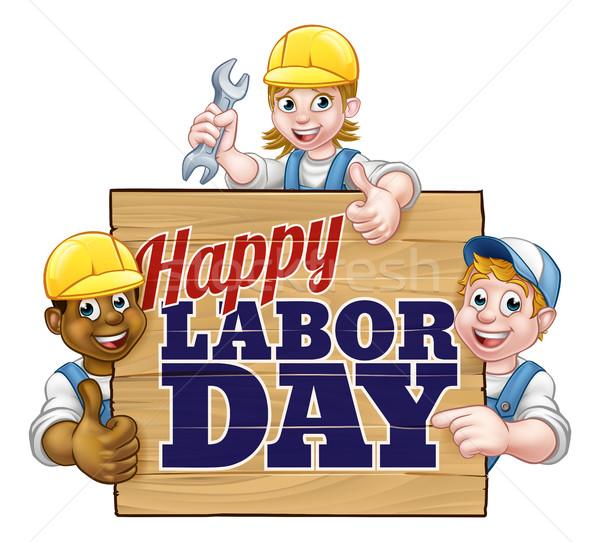 Glücklich Geburtswehen Tag Arbeitnehmer Design Zeichen Stock foto © Krisdog