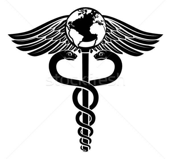 Globe Caduceus Medical Symbol Stock photo © Krisdog