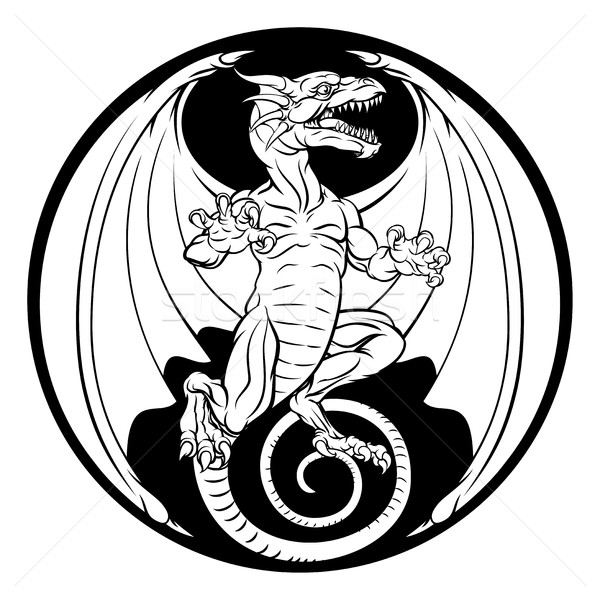 Dragon design illustrazione nero retro Foto d'archivio © Krisdog