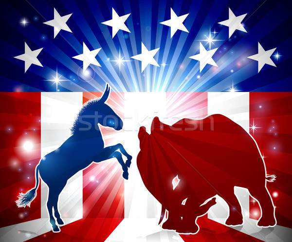 Foto stock: Elefante · burro · silhueta · bandeira · americana