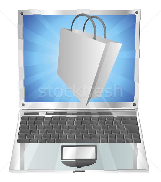 Einkaufstasche Symbol heraus Laptop Bildschirm Stock foto © Krisdog