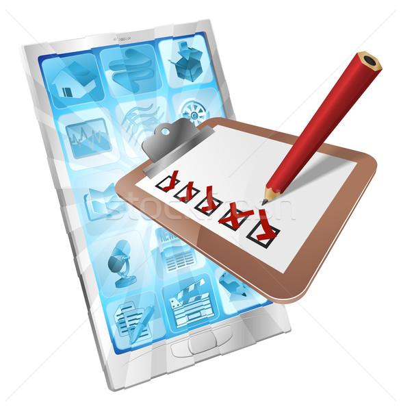 ストックフォト: を · 調査 · 電話 · アプリ · クリップボード · 実例