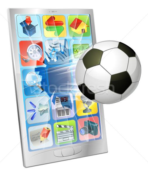 Soccer ball flying out of mobile phone Stock photo © Krisdog