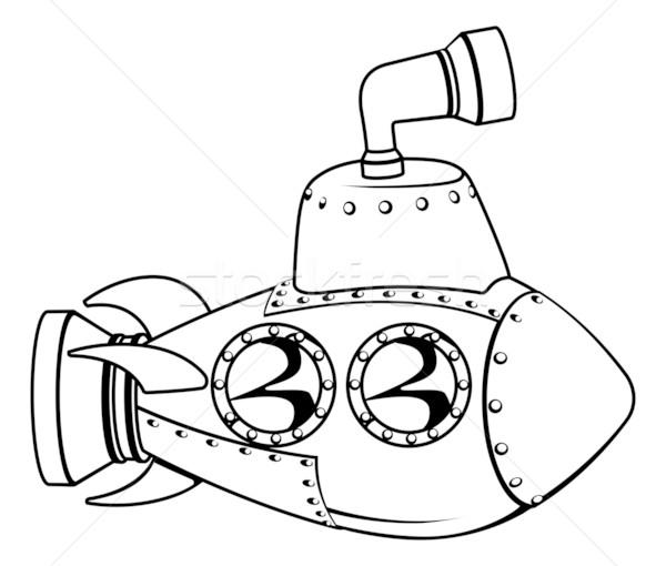подводная лодка монохромный Cartoon иллюстрация Cute черно белые Сток-фото © Krisdog