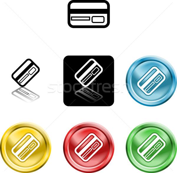Creditcard icon symbool verscheidene krediet debit card Stockfoto © Krisdog