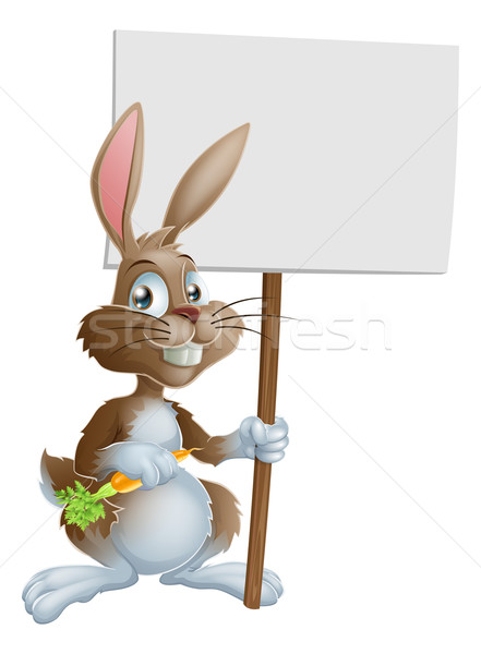 Cute Easter bunny rabbit carrot sign Stock photo © Krisdog