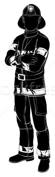 Firefighter or fireman silhouette Stock photo © Krisdog