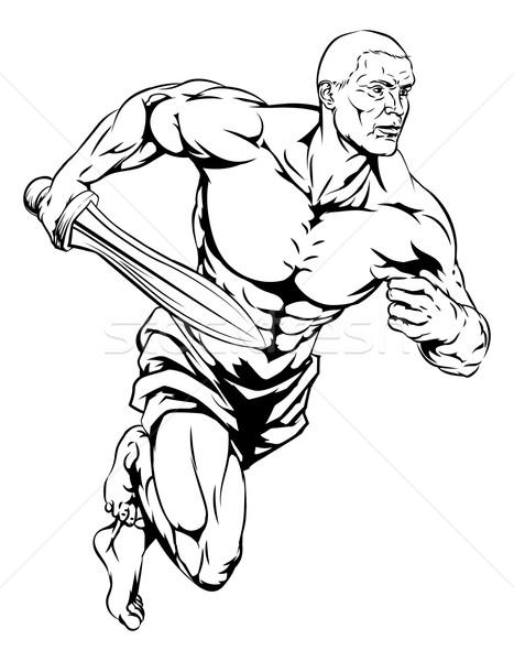 Gladiator illustratie krijger man karakter sport Stockfoto © Krisdog