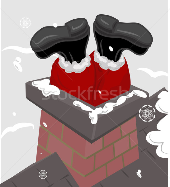 santa chimney illustration Stock photo © Krisdog